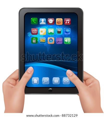 Hands holding digital tablet computer with icons. Vector illustration