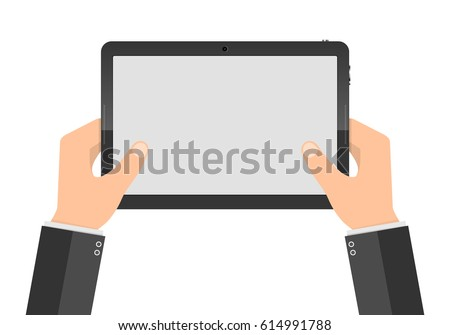 Hands holding digital tablet with blank screen. Vector illustration. Modern tablet PC with touch screen in the hands isolated. #614991788