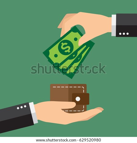 Hands holding dollar bills and small money wallet. Financial concept. Vector illustration.