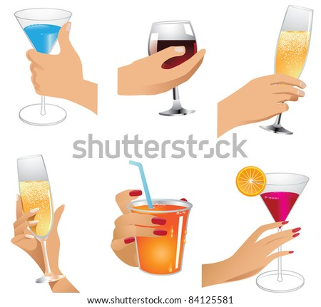 Hands holding drinks icons A collection of male and female hands toasting with different drinks. EPS 8 vector, cleanly built with no open shapes or strokes. Grouped for easy editing.