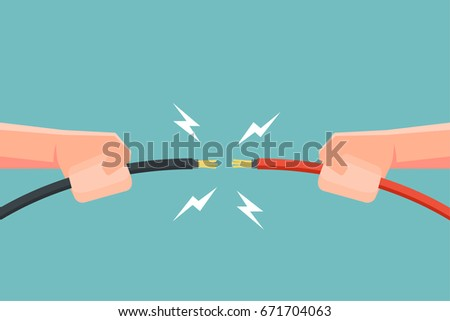 Hands holding electric cable with electricity spark. Vector illustration.