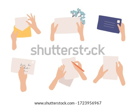 Hands holding envelope and paper sheet. Correspondence through postal service.