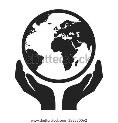 hands holding globe earth web