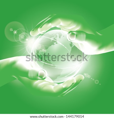 hands holding globe symbol of