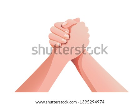 Hands holding hand for unity vector illustration