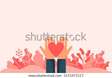 Hands holding heart among leaves and empty space. Flat design vector illustration template for charity, help, supporting, work of volunteers