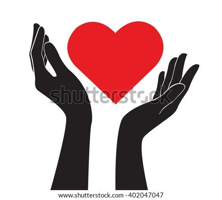 hands holding heart art vector