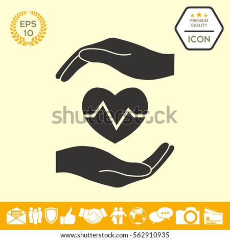 Hands holding heart. Medical icon