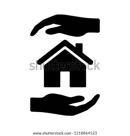 Hands holding home or homeowners insurance coverage flat vector icon for real estate apps and website