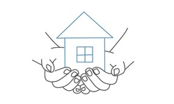 Hands holding house, family home, protecting insurance concept, international day, social distancing. Line drawing vector illustration.