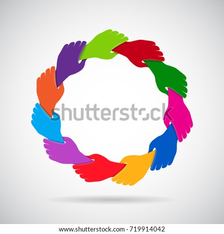 Hands holding in circle. Colorful hands logo concept design suitable for various youth, multicultural and business organization purposes.