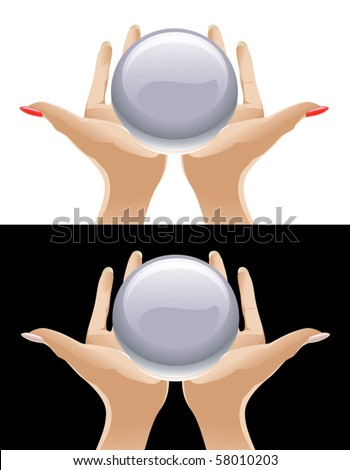 Hands Holding Magic Crystal Ball