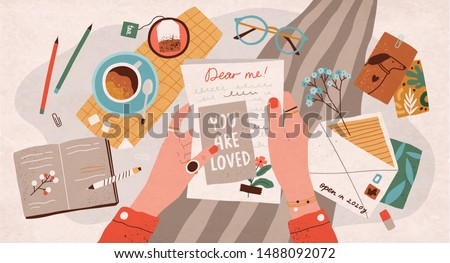 Hands holding paper sheet with handwritten text. Concept of sending letter to your future self or written message to yourself through postal service. Flat cartoon colorful vector illustration.