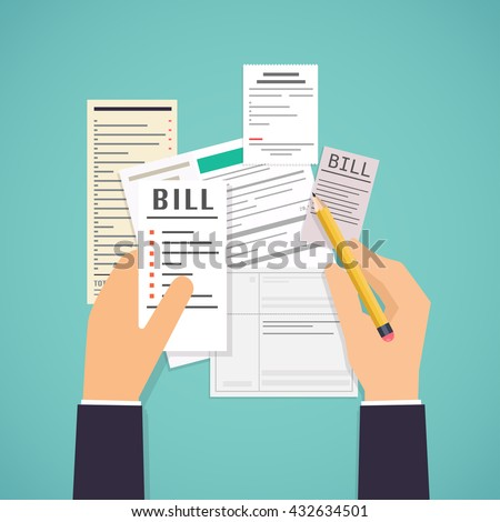 Hands holding Paying bills and pencil. Payment of utility, bank, restaurant and other. Flat design modern vector illustration concept.