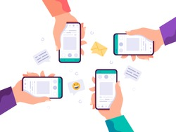 Hands holding phone with messages, icons and emoji. Communication concept on white background. Social networking concept. Vector flat cartoon illustration for web sites and banners design