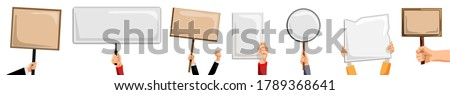 Hands holding placards. Isolated activist person hand holding blank sign, placard and banner set. Vector empty protest message posters. Demonstration and political announcement concept Сток-фото ©