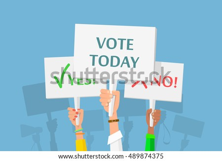 Hands holding plate. Presidential Election Voting Poster. Vector flat cartoon illustration for news, infographics, banners design