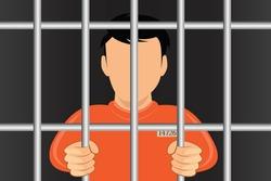 Hands holding prison bars. Criminal man behind bars.Human in jail. Prisoner concept. Vector illustration flat design