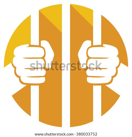 hands holding prison bars flat icon  Foto stock ©