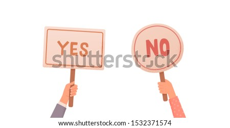 Hands holding signs Yes or No. Test question, choice, dispute, vote. Isolated vector illustration