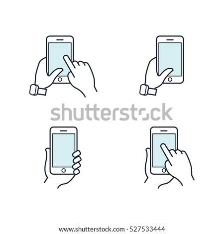 Hands holding smartphone. Flat line icon. Vector icon set