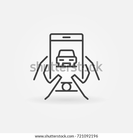 Hands holding smartphone with car icon. Vector buy car online or rent a car concept sign in thin line style