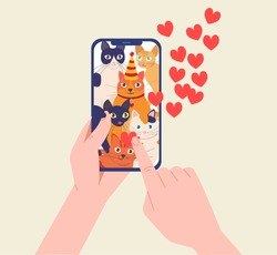 Hands holding smartphone with cats and like a post . People love cats, National Cat Day. Vector illustration in modern flat style.