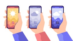 Hands holding smartphone with cloudy and sunny day concept. Weather app, touchscreen device with different seasons and daily temperature, vector flat illustration