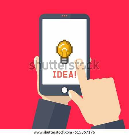 Hands holding smartphone with idea symbol, pixel art lightbulb on screen. Vector illustration, flat design