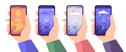 Hands holding smartphone with weather app, cloudy, rainy and sunny day concept, touchscreen device with different seasons and daily temperature, vector flat illustration