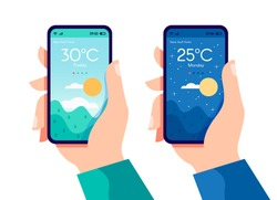 Hands holding smartphone with weather app, night and sunny day concept, touchscreen device with nature way day turns to night vector flat illustration for websites and banners design