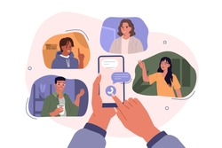 Hands Holding Smartphones with Video Chat on Screen.  Boys and Girls Chatting and Communicating Together in Social Media. Female and Male Characters Talking Online. Flat Cartoon Vector Illustration.