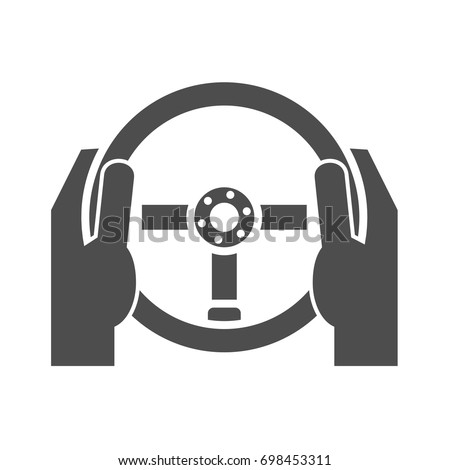 Hands holding steering wheel icon concept #698453311