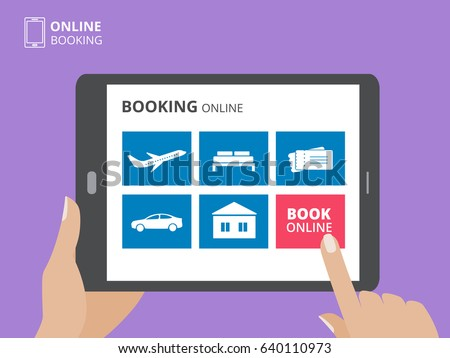 Hands holding tablet computer and touching screen with book button on screen. Design concept for online booking. Icons of hotel, flight, car, tickets.