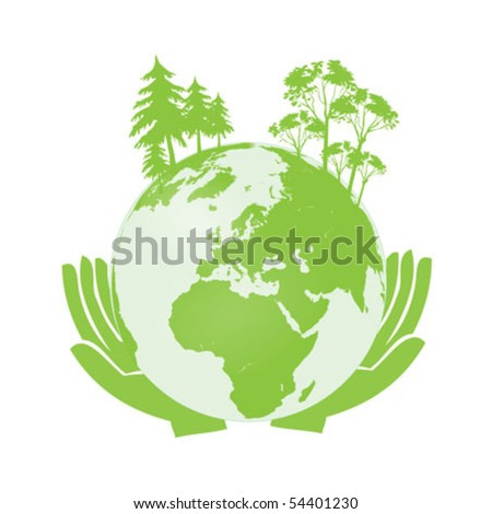 Hands Holding The Green Earth Globe Vector Illustration clip-art isolated on white