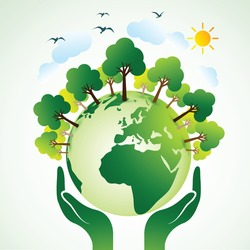 Hands Holding The Green Earth Globe with tree , Vector Illustration