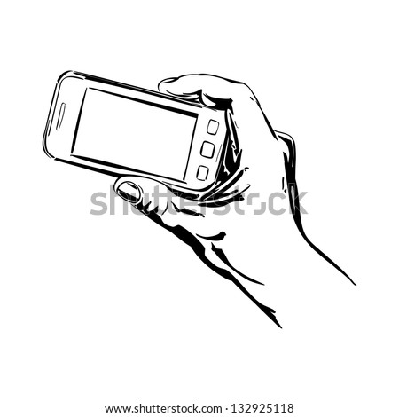 Hands Holding the Smart Phone cartoon vector  illustration