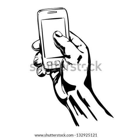Hands Holding the Smart Phone cartoon vector  illustration