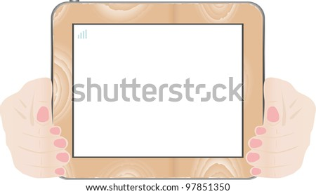 Hands holding touch screen wooden tablet pc with blank screen