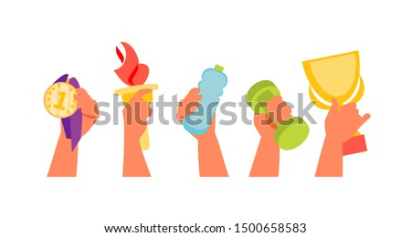 Hands holding various sports facilities. Olympics and competition. Vector illustration