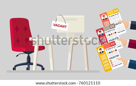 Hands holds resume, CV form isolated on background. Workplace, office chair with vacancy sign, desk, table. Business hiring and recruitment, hr concept. Human resources management. Vector flat design