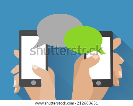 Hands holing smartphone with blank speech bubble for text. Using smart phone similar to iphon for text messaging. Eps 10 flat design concept.