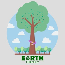 Hands hug green tree. Earth friendly concept