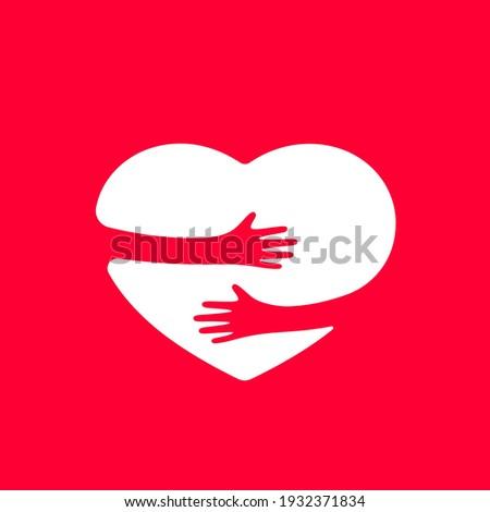 Hands hugs heart shape vector illustration Stockfoto ©