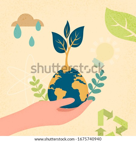 Hands human holding earth planet with growth plant.Earth day and World environment day concept of ecology sustainable.Vector illustration.