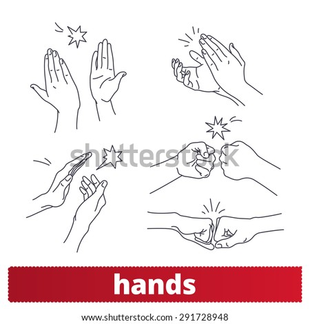 hands icons  thin lines signs