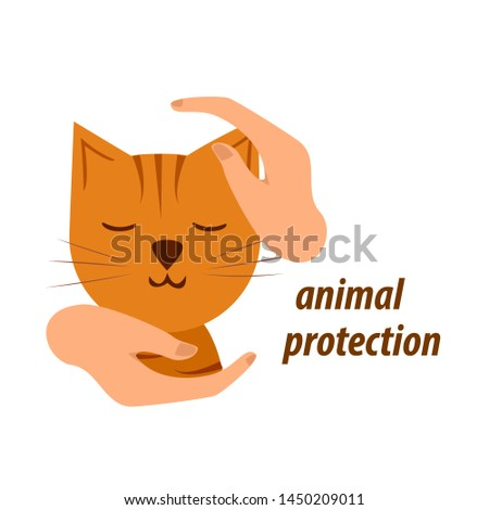 hands in a protective gesture protect the cat. symbol of humanity, care, protection, veterinary. vector illustration