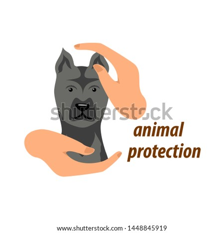 hands in a protective gesture protect the dog. symbol of humanity, care, protection, veterinary. vector illustration