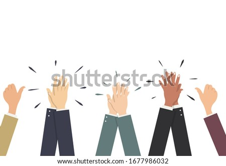 Hands in business suits applaud, pull the thumb up. Vector illustration, flat cartoon, eps 10. Concept: approval, colleagues opinion, consent, success, voters, like-minded people, enthusiasm. Сток-фото ©