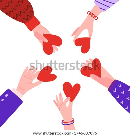 Hands in circle with hearts. Friendship concept. People hold out each other's hearts. Characters palm with symbol of love ond frienship. Vector flat hand drawn illustration.